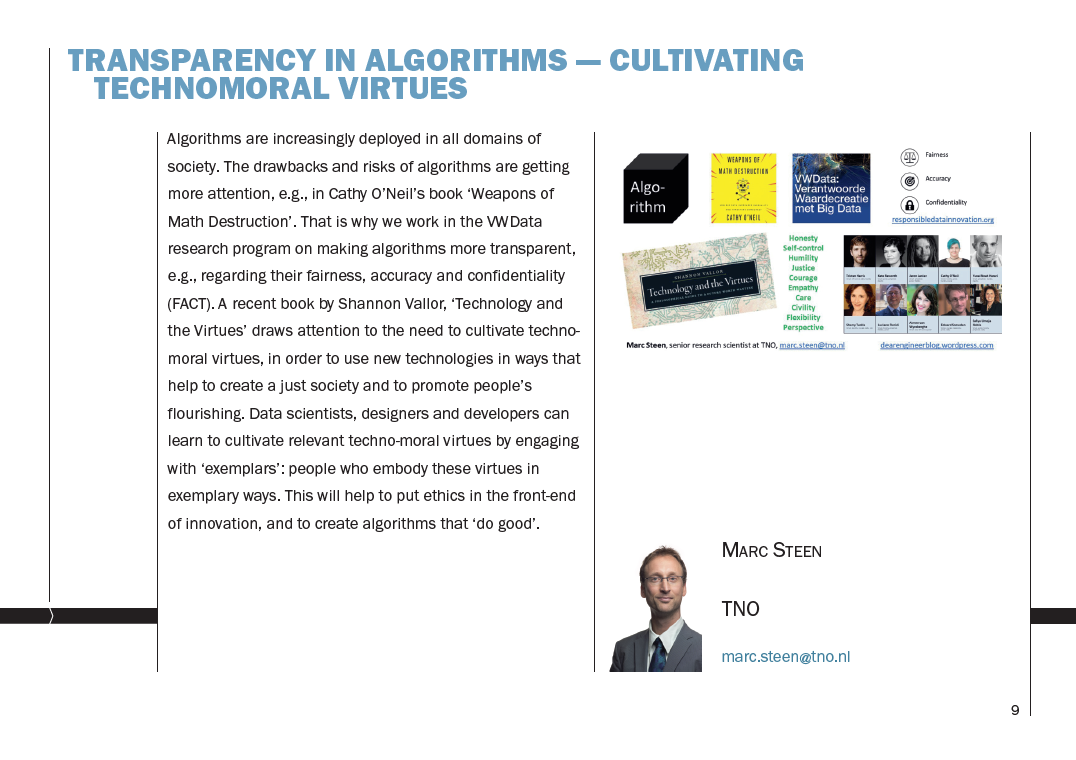 Transparency in algorithms / Cultivating technomoral virtues